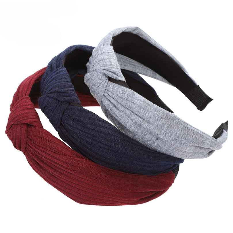 Haimeikang Women Hairbands 2019 New Fashion Girls Vintage Knitting Twisted Knotted Headband Wide Hair Bands   Headwear   Accessories
