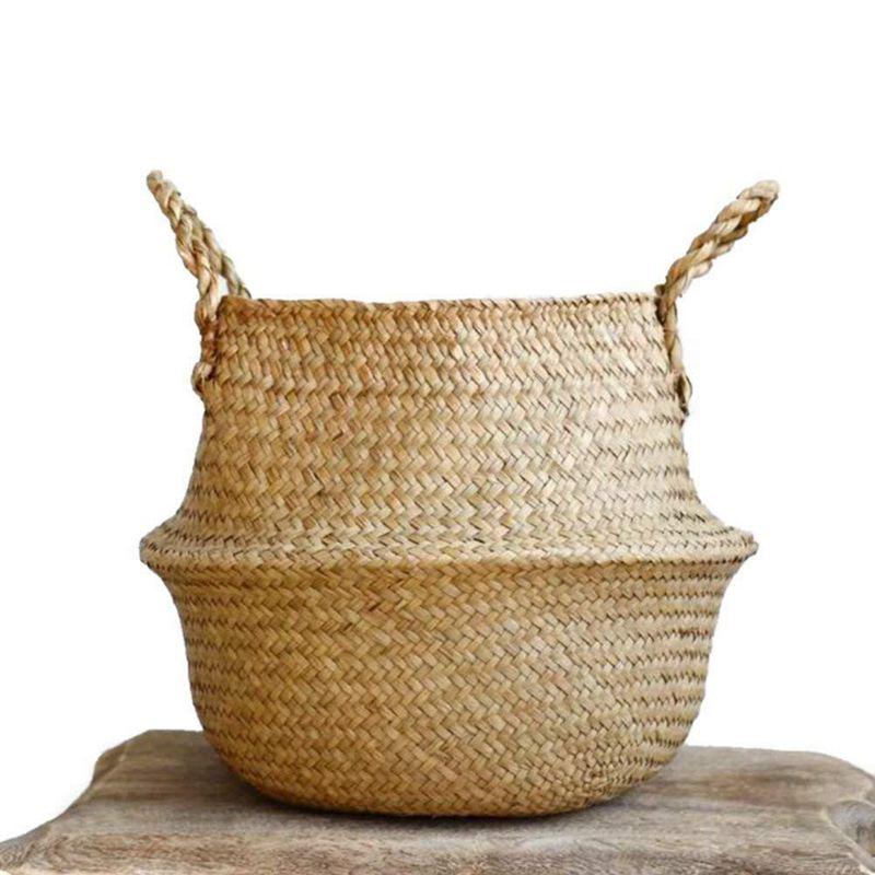 Ev ve Bahçe'ten Çantalar ve Sepetler'de Dokuma deniz çayırı sepeti  dokuma Seagrass Tote bombeli sepet depolama  çamaşır  piknik  saksı kapak ve plaj çantası title=