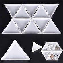 10pcs/lot Plate For Jewelry Beads Organizer White Containers For Beads Display Plastic Tray Packaging 7.2x6.3 cm/2.83x2.48 in(China)