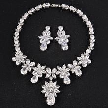 Zestawy biżuterii ślubnej akcesoria ślubne z białego złota akcesoria ślubne najwyższej jakości zestawy biżuterii ślubnej z cyrkonią sześcienną tanie tanio Miedzi Kobiety Na co dzień sportowy Cyrkonia Ślub CZ Diamond Woman Bridal Wedding Jewelery Sets Kropla wody Naszyjnik kolczyki
