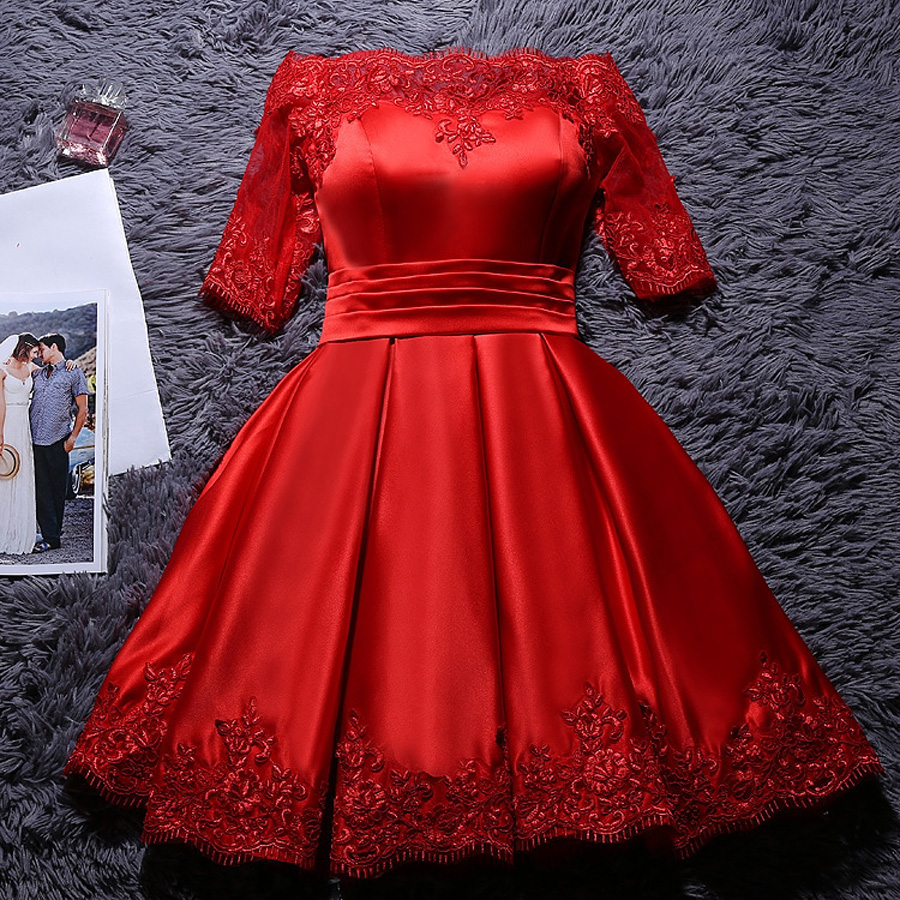Women's short formal prom evening dress lace satin white pink red wedding party dress Plus size Ceremony Bespoke Occasion Dress 5
