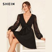 SHEIN negro contraste Guipure encaje Surplice Sexy vestido con cinturón mujer 2019 otoño manga larga cuello en V profundo elegante Vestidos cortos