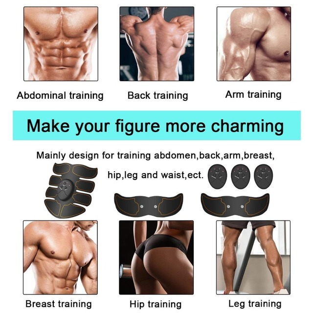 Smart EMS Muscle Trainer Electric Muscle Stimulator Wireless Buttocks Hip Abdominal ABS Stimulator Fitness Slimming Gel Massager 4
