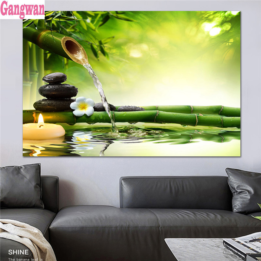 Bamboo Stone Orchid  Full Drill 5D Diamond Painting DIY Cross Stitch Home Decor
