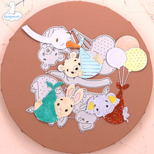 Bunnymoon 2020 New Hot air balloon animal Stitched Metal Cutting Die DIY Scrapbooking Craft Embossing Making Stencil Template(China)
