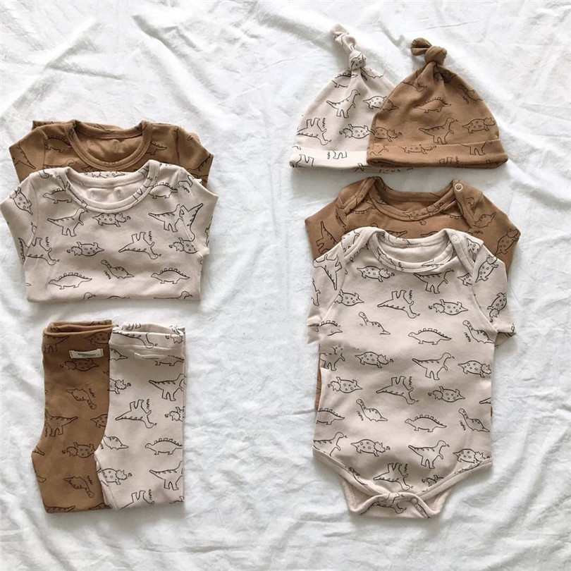 Baby Boy Clothes Dinosaur Print Newborn Baby Pajamas Cotton Toddler Nightwear Sleepwear Baby Clothes Set Infant Boy Girl Outfits