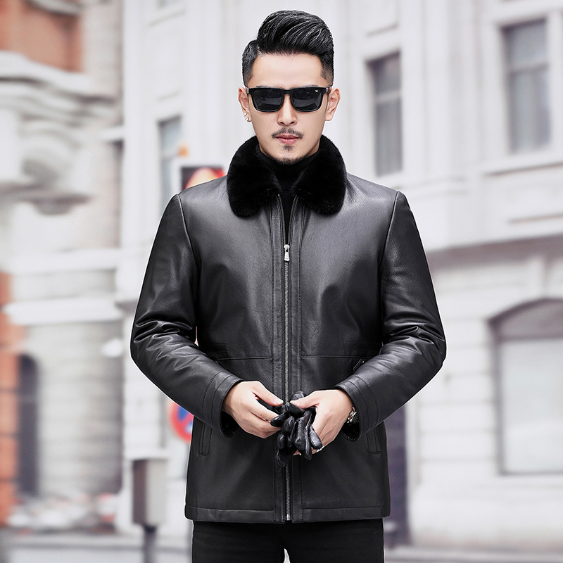 Men's Leather Jacket Winter Natural Mink Fur Coat Real Genuine Leather Jackets Fetal Cowhide Leather Coat A19-17859
