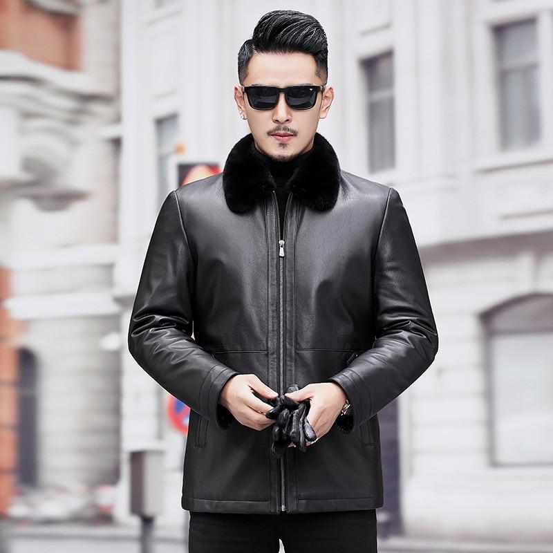 Men's Leather Jacket Winter Natural Mink Fur Coat Real Genuine Leather Jackets Fetal Cowhide Leather Coat A19-17859