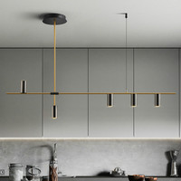 Nordic Light Luxury Long Chandelier Living Room Dining Room Lamp Iron Plating Modern Simple LED Indoor Light Fixture Home Decor