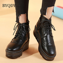 BYQDY New Winter Fashion High Quality Handmade Pointed Toe Lace-Up PU Leather  Ankle Boots Business Men Boys Wholesale