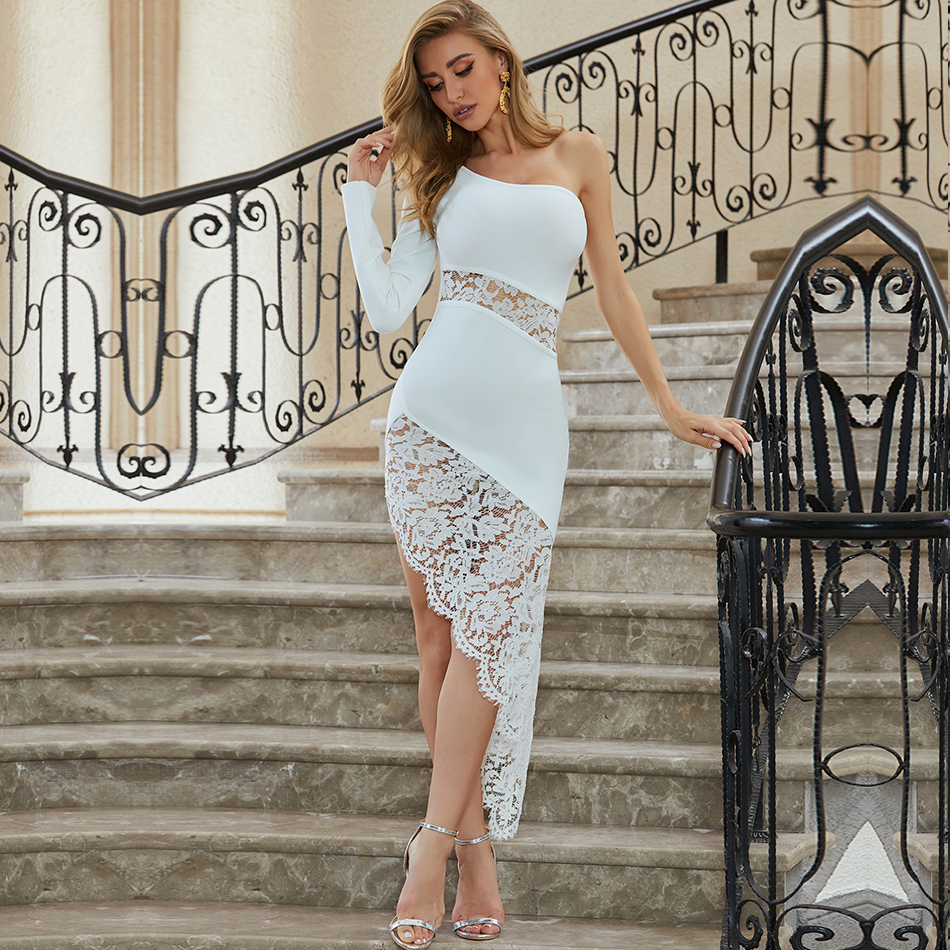 Adyce New Summer White One Shoulder Lace Bodycon Bandage Dress Women Sexy Long Sleeve Club Celebrity Evening Party Dress Vestido