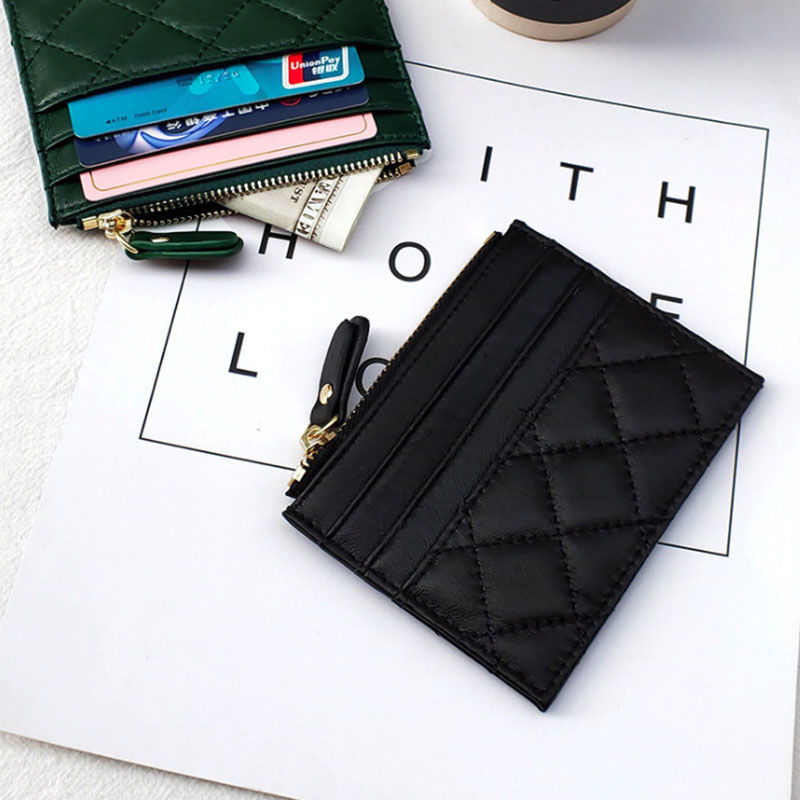 Top Quality Genuine Sheepskin Small Wallet Coin Purse New Design ID Card Holder Bank Holder Fashion Soft Zipper Slim Wallet