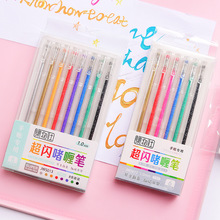 12 Color Bling Glitter Highlighter Pen Ballpoint 1.0mm Metallic Marker Liner Drawing Lettering School Design Art Supplies A6894