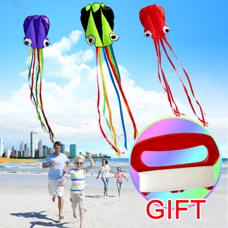 3D 4M Octopus Kite Single Line Stunt /Software Power Sport Flying Durable Kite Outdoor Easy To Fly Kids Toys With 30m Wire Board