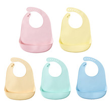 Baby Bib Eating Handkerchief Adjustable Buckle Soft Front Pocket 2-Layered Solid Color Dinner Clothes(China)