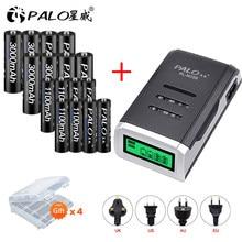 PALO 4/6/8 szt. Akumulator AA batteria + bateria AAA Ni-MH 1.2V baterie z wyświetlaczem LCD ładowarka do baterii aa aaa