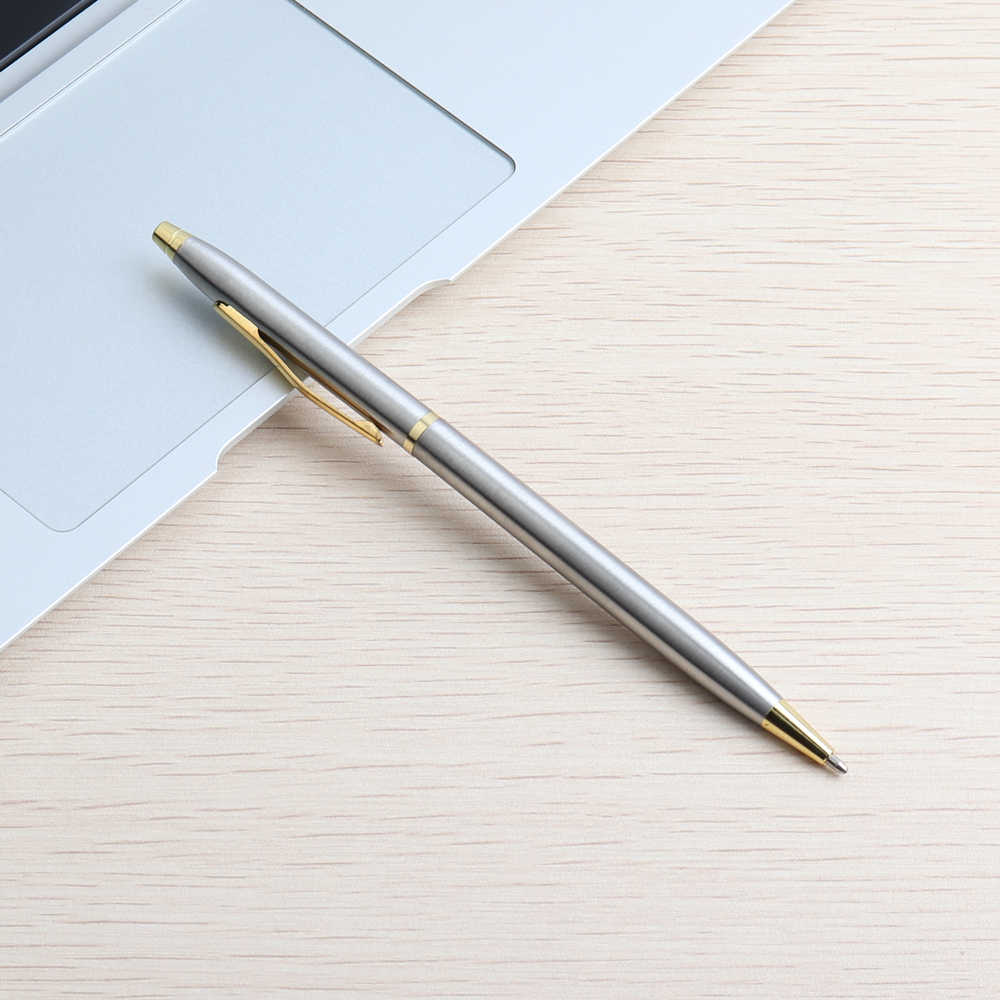 3/11/20PCS כדור עט נירוסטה מוט מסתובב מתכת עט כדורי מכתבים Ballpen 0.7mm כחול דיו משרד וציוד בית הספר