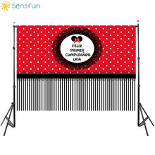 Sensfun Princess Red Cartoon Happy Birthday Backdrop Childrens Photography Background Studio treat children birthday