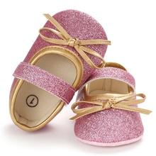 Baby Girl Cute Bow antypoślizgowe trampki maluch z miękkimi podeszwami buty do chodzenia księżniczki tanie tanio Pasuje prawda na wymiar weź swój normalny rozmiar Wszystkie pory roku Butterfly-knot Hook loop Stałe COTTON