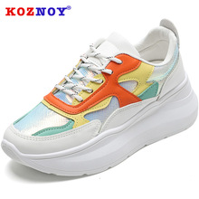 Koznoy Sneakers Women Summer 2019 New Dropshipping Colorful Bright White Shoes Flat Platform Fashion Leisure