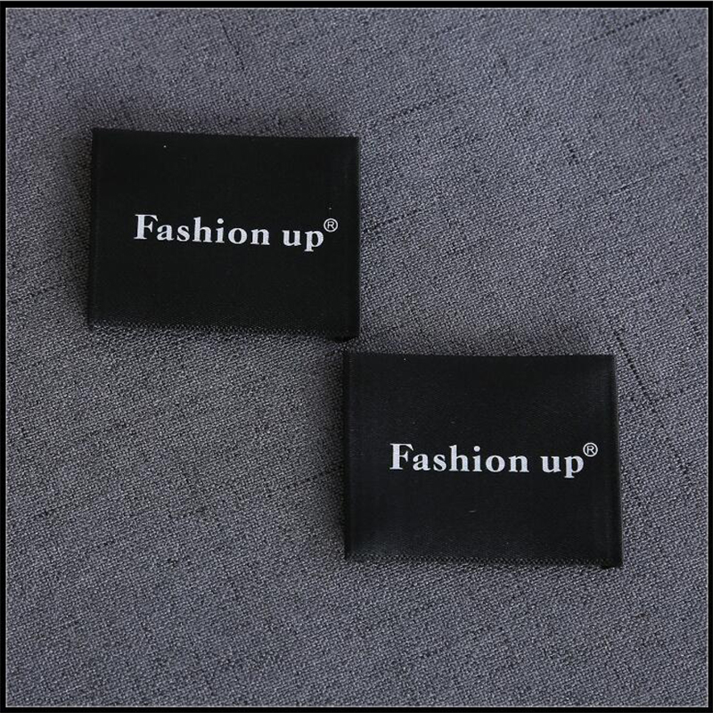 Sew on End Fold Soft Tags Custom Printed White Branding Fabric Black Satin Ribbon Neck Labels for Clothing
