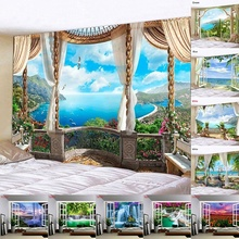 Scenery Tapestry Window-Decor Wall-Hanging Bedroom Background Beach-Sailboat Coconut-Tree