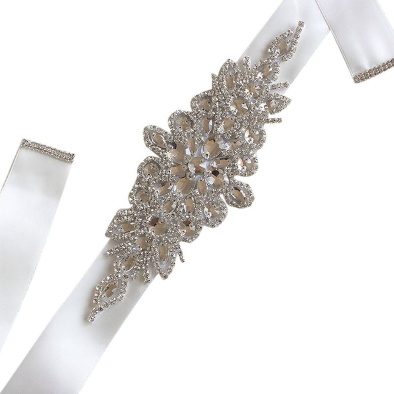 270x4cm 270x4cm Women Wedding Sash Elegant Rhombic Rhinestone Faux Crystal Ribbon Bridal Wide Waist Belt Jewelry Dress Waistband