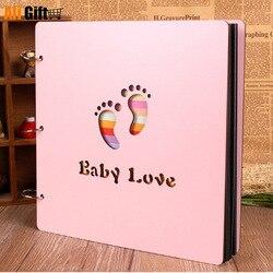 2021 álbuns de fotos 12 polegada cor capa de madeira álbuns feitos à mão solto-folha colada álbum de fotos personalizado amantes do bebê diy álbum de fotos