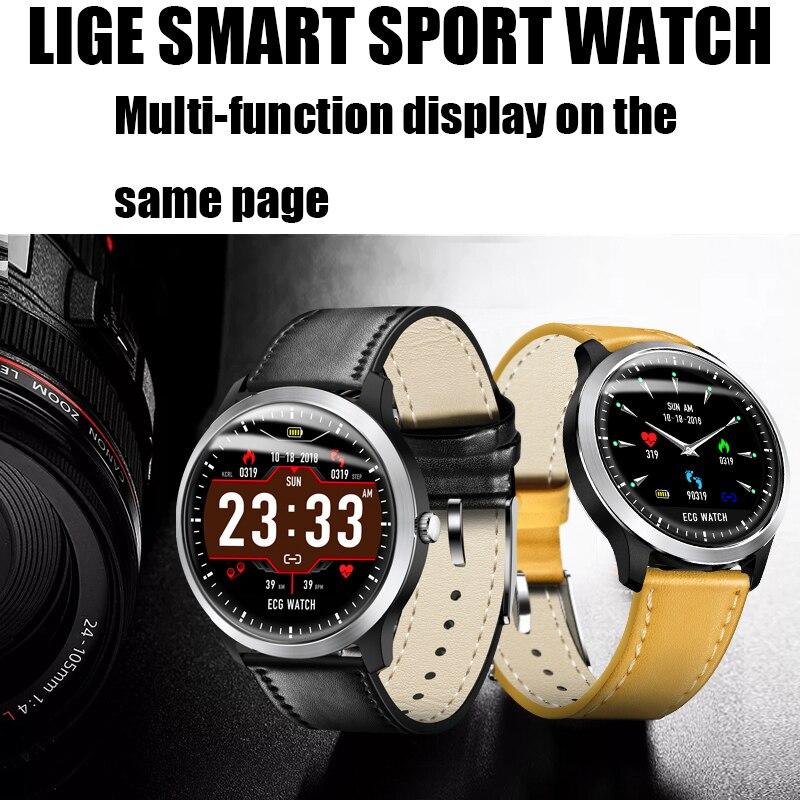 LIGE 2019 nuevo reloj inteligente N58 ECG para hombre pulsera deportiva impermeable IP67 Monitor de frecuencia cardíaca pulsera inteligente de presión arterial + caja - 2
