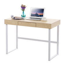 iKayaa Modern Metal Frame Computer Desk Office Table with Drawer Study Writing Home Furniture Dinner Bar Table Kitchen Furniture(China)