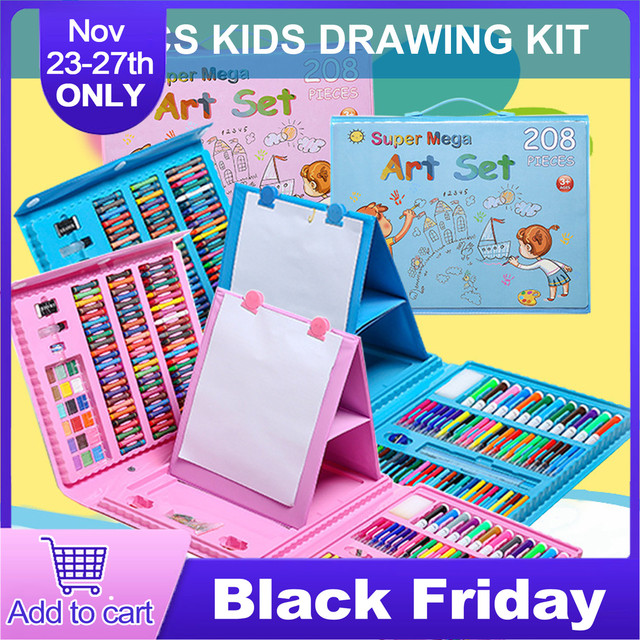 208PCS ילדים ילדי ציור ציור כלים סט עם עפרונות צבעוניים מרקר עטים עפרונות לבית בית ספר אספקת גן