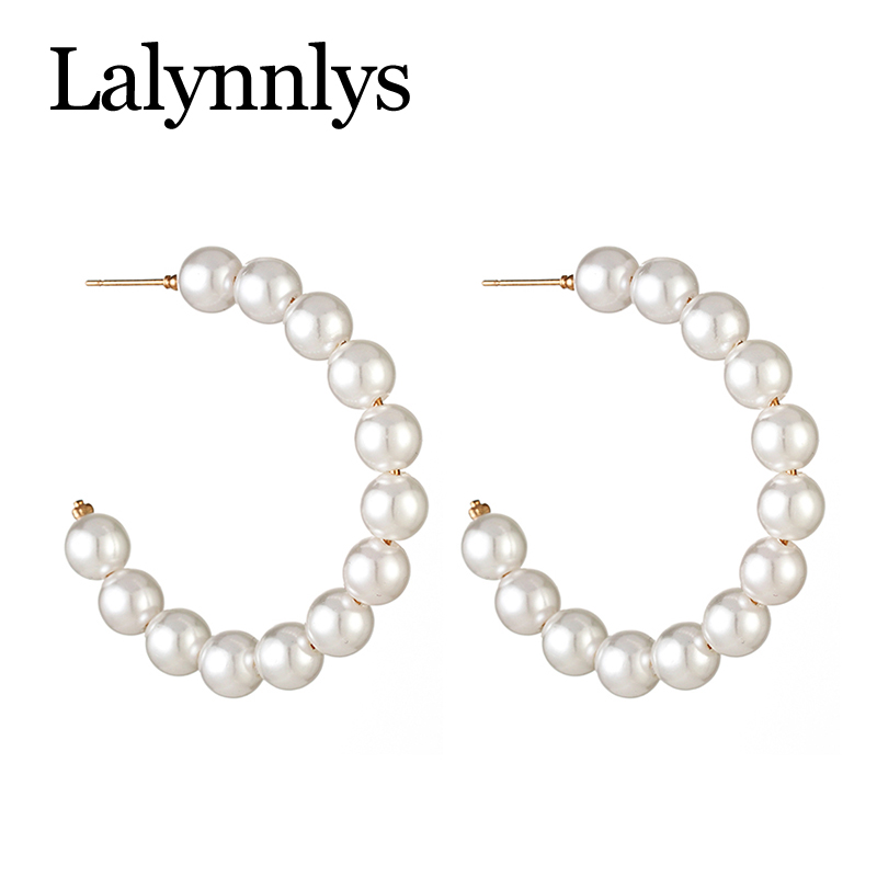 Lalynnlys Fashion Elegant Imitation Pearl Drop Dangle Earrings for Women Big Circle Round Earring Party Wedding Jewelry E54781 12