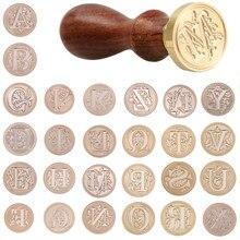 Sello de cera a-z de 26 letras Retro, letras del alfabeto, Kits de sellos de madera Retro, reemplazo de cabeza de cobre, juegos de herramientas de Hobby, decoración de poste