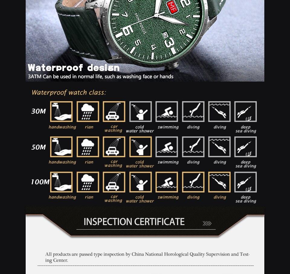 Hb85a06e9905844c6b3f32b56cc91e1f5X MINI FOCUS Luxury Brand Men's Wristwatch Quartz Wrist Watch Men Waterproof Brown Leather Strap Fashion Watches Relogio Masculino