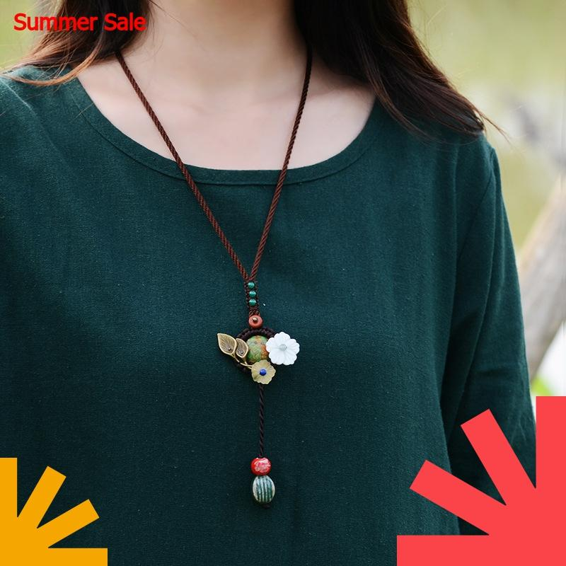 Cute green turkey stone Long Necklace For Women Shell Copper Flower Ceramic Drop Pendant Rope Chians Vintage Jewelry 2018