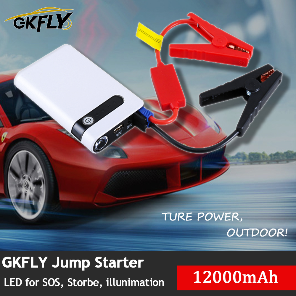 GKFLY High Power 12000mAh Starting Device 12V 400A Car Jump Starter Power Bank Car Charger For Car Battery Booster Buster LED