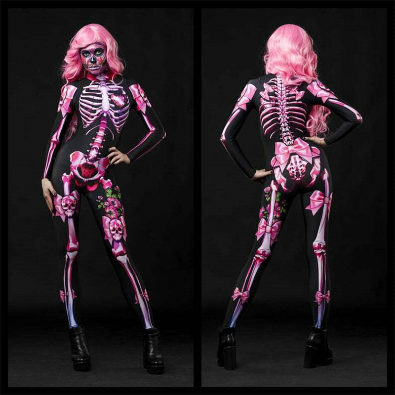 Womens Rose Skeleton Floral Mechanical Bone Costume 3D Printed Halloween Cosplay Jumpsuit Bodysuit Stretchy Outfit Femme Cos
