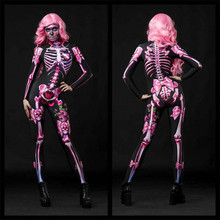 Womens Rose Skeleton Floral Mechanical Bone Costume 3D Printed Halloween