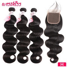 Body-Wave-Bundles Closure Brazilian-Hair West Kiss Weave Hair-Remy with 8-30inch-Bundles/4x4