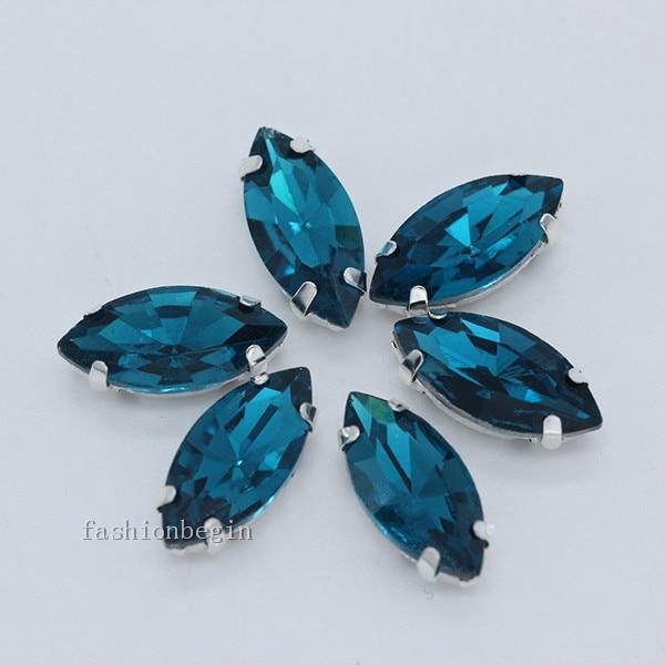 Всех размеров Наветт 24-цветное стекло камень с плоской задней частью, пришить с украшением в виде кристаллов Стразы драгоценные камни бисер с серебряной нитью, бледно-коготь кнопки для одежды аксессуары - Цвет: capri blue