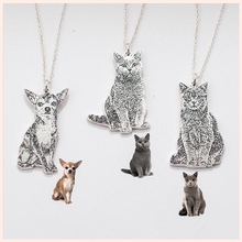 SG 925 sterling silver your pet pattern necklace personalized custom dog and cat necklace&pet commemorative gift&pet lover gift