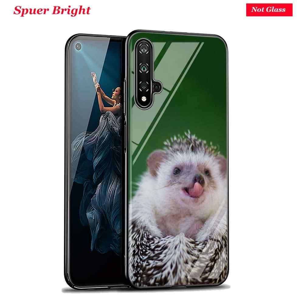 Nero Della Copertura Carino Hedgehog per Huawei Honor 10i 9X8X20 10 9 Lite 8 8A 7A 7C pro Lite Super Luminoso Lucido Cassa Del Telefono