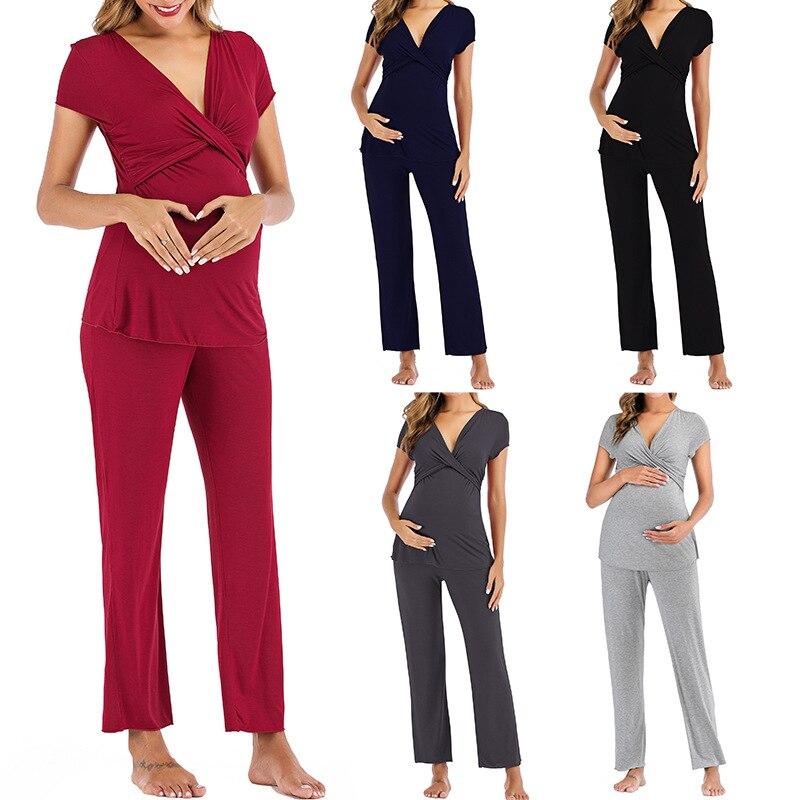 Pregnant Women Layered Maternity & Nursing Pajama Capri Set V NECK Cotton Hospital PJS Set Pregnancy Breastfeeding Sleepwear