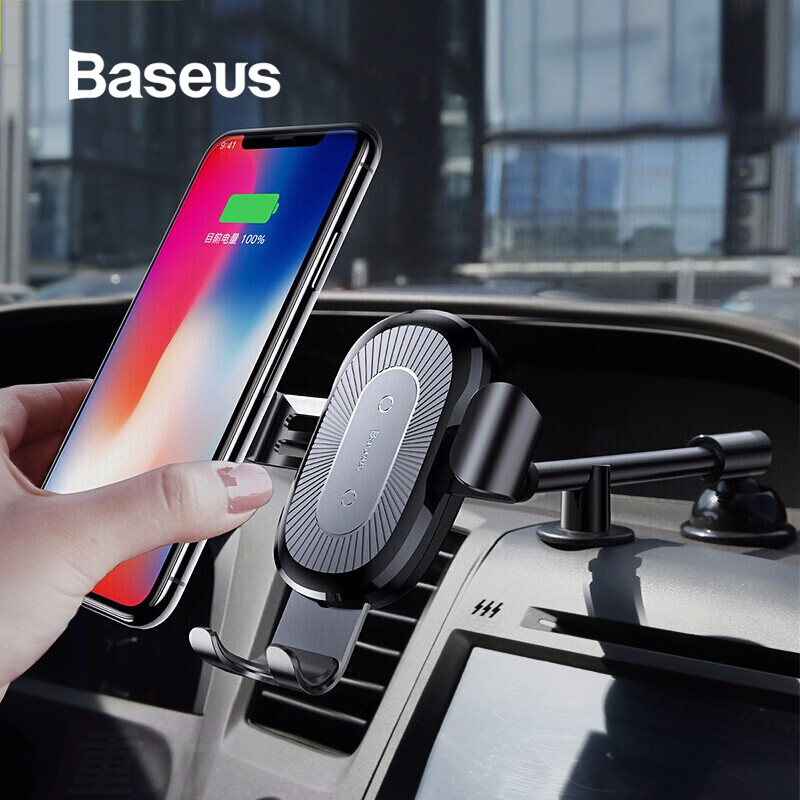Baseus Qi Wireless Charger Car Phone Holder For IPhone XS Mount Holder Fast Wireless Charging For Car Mobile Phone Holder Stand