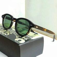 Lunettes de soleil vintage polarisées pour homme et femme, style Johnny Depp, cadre en acétate de haute qualité, idéal pour la conduite, lentille verte, avec boîte incluse, SQ17