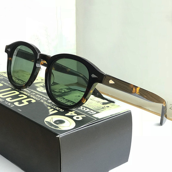 Johnny Depp Sunglasses Men Woman Brand vintage Acetate Frame Top quality Driving Polarized Green Lens With Box SQ17