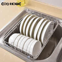 Multifunctional Stainless Steel Sink Draining Racks Holders Retractable Dish Drainer Rack Vegetables Basket Kitchen Storage Box