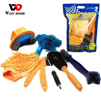 Road MTB Bike Chain Cleaner Bicycle Cleaning Tool Kit Cleaning Gloves Bicycle Tire Brake Disc Brush Sets 8 Pcs Bike Wash Tools bicycle large brush chain cleaning brush tooth plate chain cleaning equipment three sides large brush