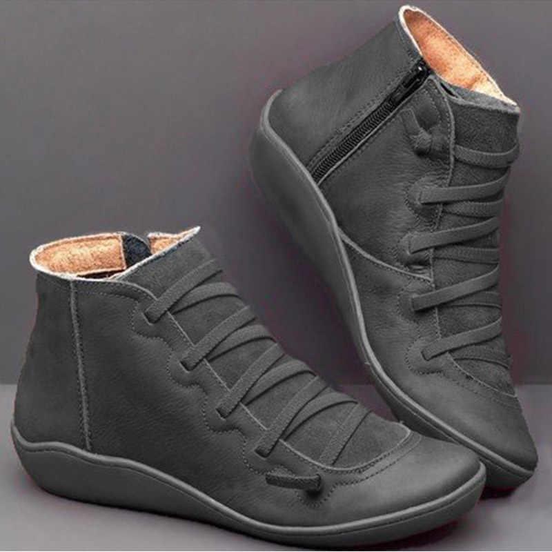 Neue Frauen Stiefel PU Leder Frauen Stiefeletten Weibliche Winter Stiefel Cross Strap Damen Stiefel Winter Schuhe Frauen Booties Botas mujer