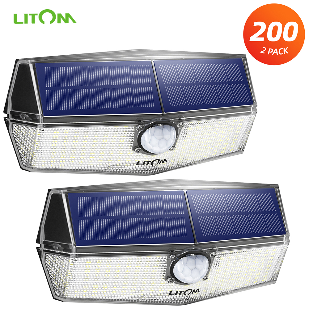 2 Pack LITOM 200 LEDs Solar Garden Lights LITOM CD210 Wall Lamp With Upgraded PIR Sensor Head IPX7 Waterproof Motion Sensor Lamp